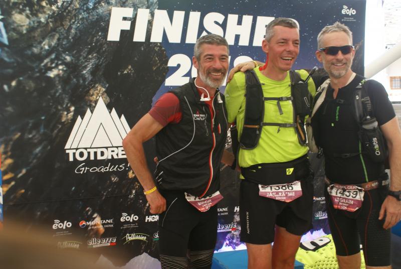 Benoît Lançon, Jérôme Berode et Thomas Legrain à l'arrivée