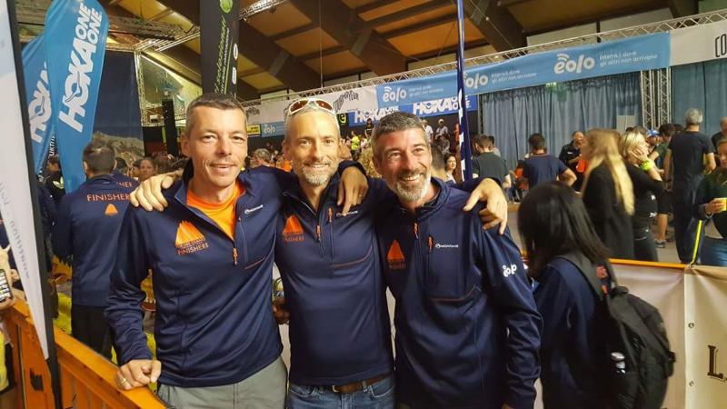 Jérôme Berode, Thomas Legrain et Benoît Lançon, finisher du Tor des Géants 2018